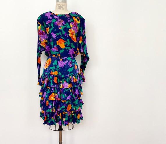 80s Silk Floral Dress | Vintage Silk City Dress Si