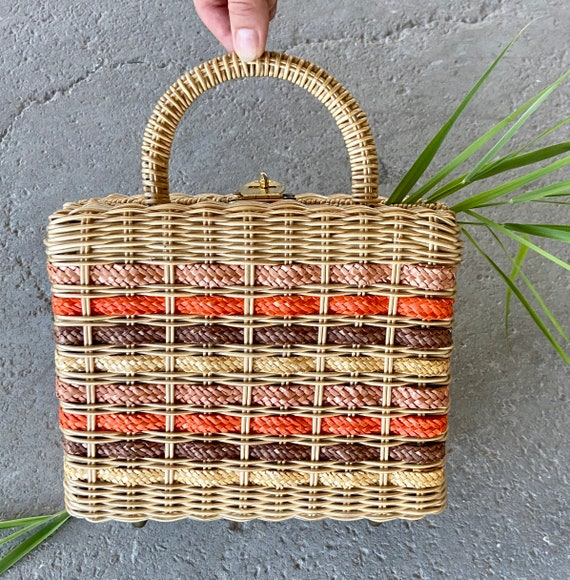 Vintage 60's Wicker Purse/ Woven Wicker Purse/ Wic