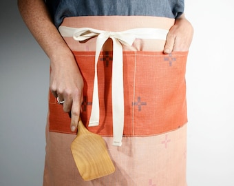 Block Printed Linen Cafe Apron in Salmon and Melon - Make cooking and entertaining more fun and stylish with our block printed cafe apron.