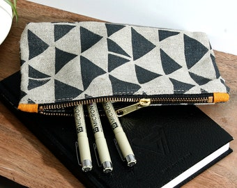 905ea67d Block Printed Linen Zipper Pouch - The perfect little pouch to hold your  cosmetics, pencils, gadgets, toiletries or anything you think of.