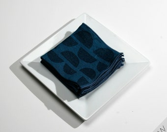 Half Moons in Blues Block Printed Linen Cocktail Napkins, Add some style to your cocktail party or give as a hostess/housewarming gift.