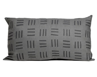 Grid Block Printed Linen Lumbar Pillow Cover - Add some style to your home decor with this abstract hand printed linen pillow.