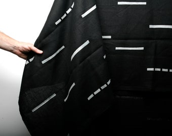 Black Block Printed Linen Throw Blanket - Perfect for the beach, couch or a picnic at the park. Hand printed in Portland OR