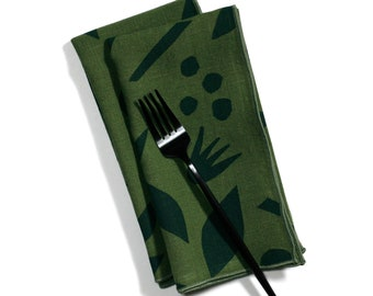 Decon Floral in Forest Green Block Printed Linen Dinner Napkins - Make your table shine with these hand printed dinner napkins