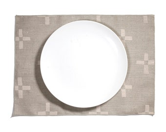 Plus 2 Block Printed Linen Placemat - Add something special to your dinner table with this place setting. Perfect for any event or occasion