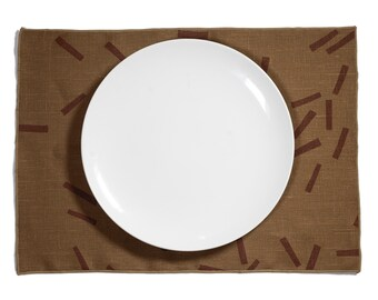 Toss Block Printed Linen Placemat - Add something special to your dinner table with this place setting. Perfect for any event or occasion