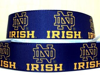 7/8 Notre Dame Fighting Irish grosgrain ribbon