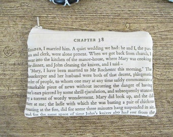 Jane Eyre Coin Purse Zipper - Charlotte Bronte Quote Bridal Wedding - Reader I Married Him Pouch Change For Women - Bookworm Bookish Gift