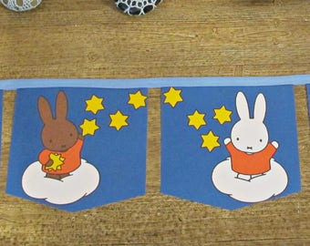 Miffy Birthday Bunting Banner - Nursery Party Supplies Baby Shower Gift - Bunnies Rabbit Bunny Blue For Kids Children - Homewares Boys Girls