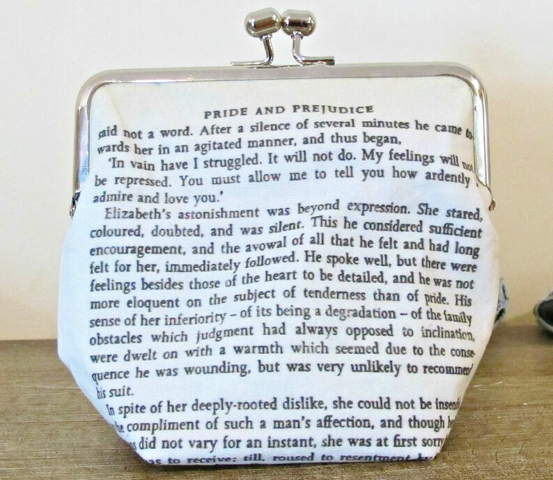 Jane Austen Gift Clutch Purse Quote Pride and Prejudice Bookworm Gift  Bridal Wedding Mr Darcy Bag Bookish Literary Ardently I Admire