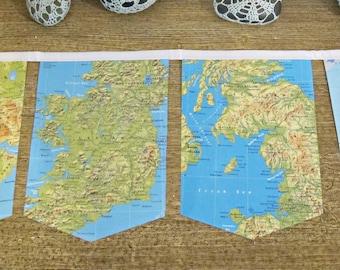 Vintage Map Bunting Garland Birthday - Atlas Travel World Geography Teacher - Bon Voyage Decor Party Supplies Farewell - Homewares Gift