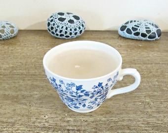 Teacup Candle Vanilla Scented - Blue White Vintage Broadhurst Cream Container - Chintz Homewares Willow Style Design - Paraffin Wax Handmade
