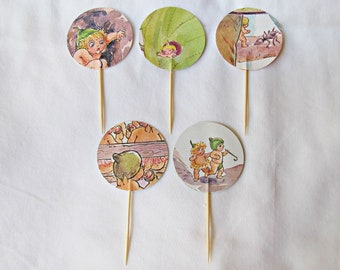 Gumnut Babies Cupcake Toppers - Birthday Party First Snugglepot And Cuddlepie - Food Pick May Gibbs Illustrated Decoration Bookworm Supplies