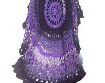 Crochet Poncho Purple Explosion Pattern Circular Unbalanced Asymmetric Pullover NOT a Finished Product Is a Digital File