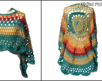 Circular Asymmetric Rainbow Poncho Shawl Crochet Pattern PDF File Avant Garde Unbalanced Design Not a finished product It is a PDF Pattern