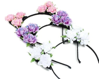 bd9d3666991d0 Cat Ear Headband with Flowers Hair Band Girls   Women Hair Hoop Stylish and  Trendy Easter Gift