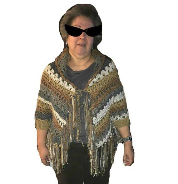 Cuffed Shawl Patita Crochet Open Poncho Pattern Digital Pdf Etsy