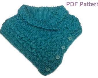 Neck Warmer Buttoned Scarflette With Cable Knitting Pattern PDF File not a finished product.