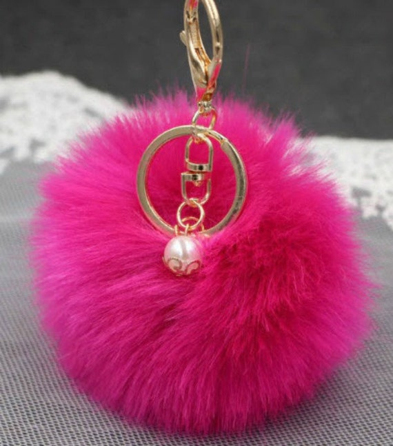 Faux Fur Fluffy Pom Pom Keyring with Bling Animals Each Sold Individually