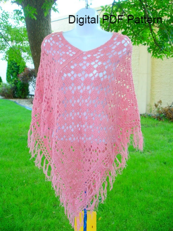 Poncho Crochet Two Rectangle Easy PDF Pattern Is not a | Etsy