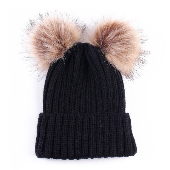 b72d21cd0dd Chunky Knit Hat With Two Detachable Faux Fur Pom Poms Beanie