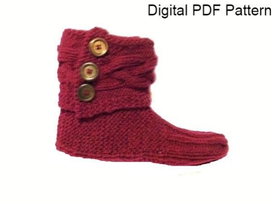 Braided Cuff Slippers Booties Pdf Knitting Pattern Knitting Etsy