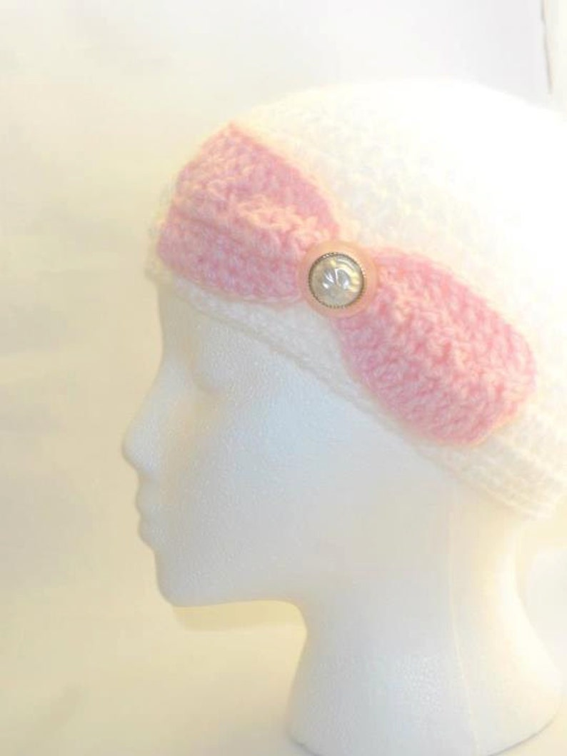 Crochet Hat White And Pink With Big Bow Handmade Hand Crocheted Hat Ready to ship