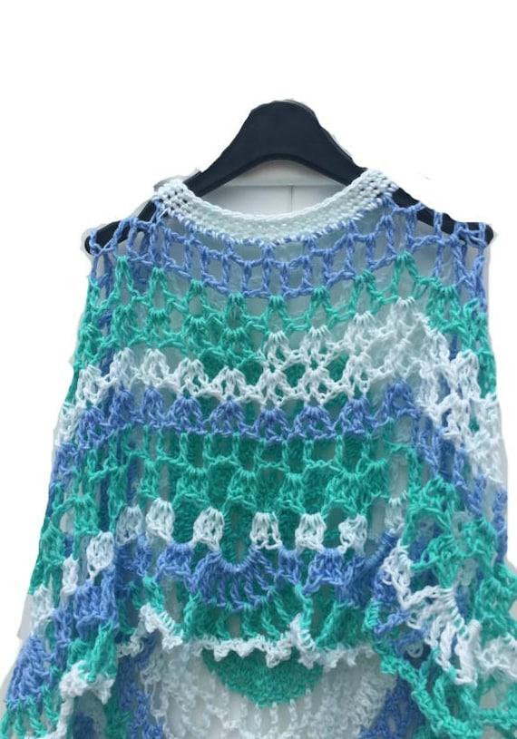 Long Poncho Circular Shawl Sea Foam Crochet Printed Pattern