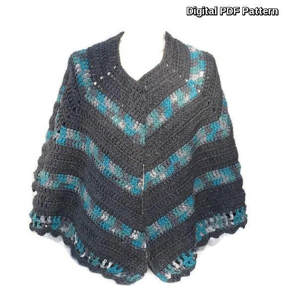 Open Poncho Shawl Crochet Pattern Crochet Cape Wrap Poncho Pdf Etsy