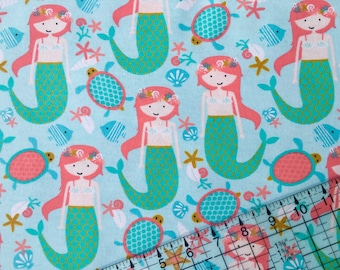 Mermaid Fabric, Mermaids, Girl Fabric, Flannel Fabric, By The Yard, Fabric BTY, Cotton Fabric, Quilting Fabric, Girl Flannel, Baby Nursery