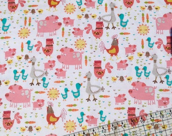Barnyard, Farm Fabric, Barnyard Fabric, Flannel Fabric, By The Yard, Fabric BTY, Cotton Fabric, Baby Flannel, Farm, Baby Nursery Fabric