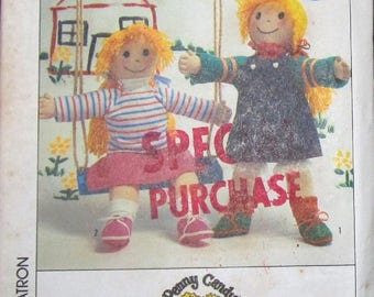 """Simplicity 6930 306 Vintage 1980s Penny Candy Craft Sewing Pattern, Soft Stuffed Cloth Rag Dolls, 21"""" Girl Dolly with Dress Clothes Uncut FF"""