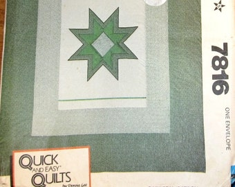 "McCall's 7816 Vtg 1980s Craft Quilting Sewing Pattern Donna Lee Quick & Easy Quilts Calico Christmas Star Center Quilt 80"" X 96"" Uncut FF"