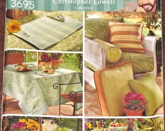Simplicity 3695 Christopher Lowell Home Decorator Craft Sewing Pattern Outdoor Table Accessories, Patio Picnic Chair Cushion, Pillows UC F