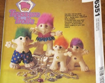 """McCall's 6351 805 Vintage Craft Sewing Pattern Treasure Trolls Character Dolls, 15"""" 11"""" Tall Soft Sculpture Girl & Boy with Clothes Uncut FF"""