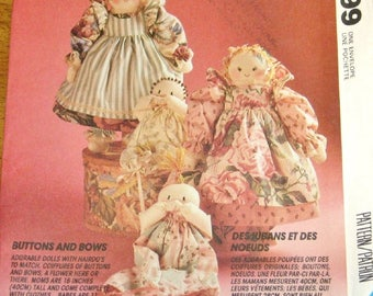 """McCall's 6099 771 P387 Vintage Buttons and Bows Craft Sewing Pattern Decorative Soft Cloth Country Dolls 6"""" Mother 11"""" Bunting Baby Uncut FF"""