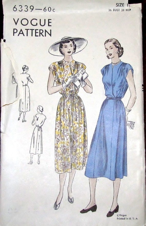 846cafaa414 Vtg 1940s Vogue 6339 Unprinted Sewing Pattern Easy Cap Sleeve