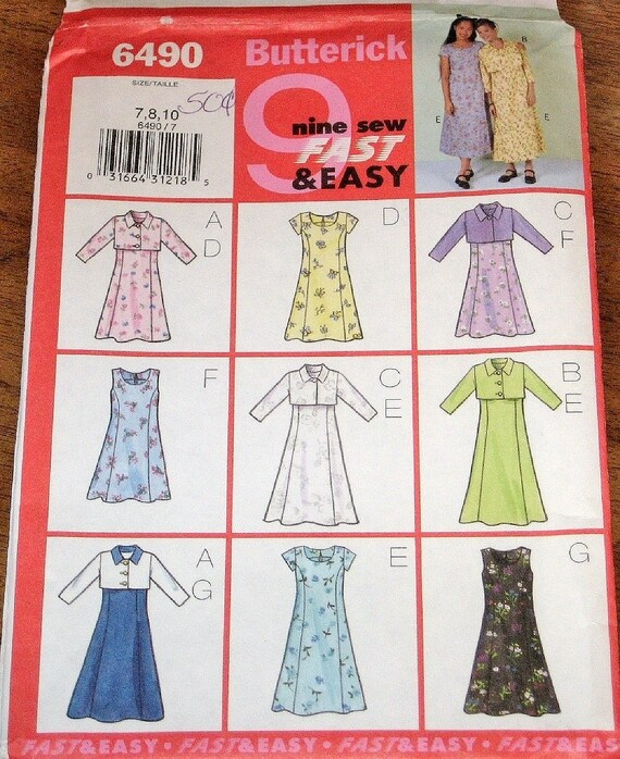 Butterick 6490 Sewing Pattern Tween Girl\'s Easy Maxi   Etsy