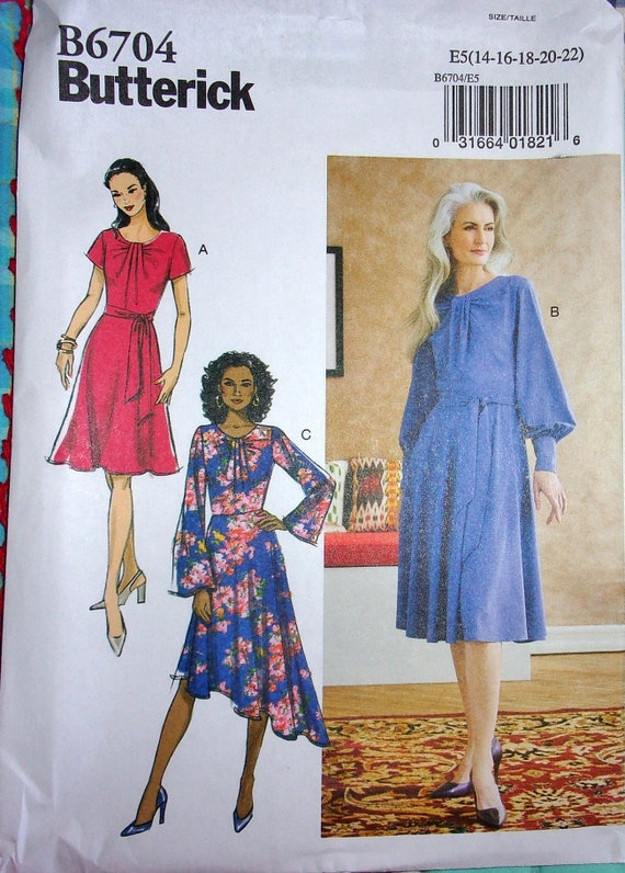 Cup Sizes Butterick 6706 Sewing Pattern to MAKE Dress w//Buttoned Fitted Bodice