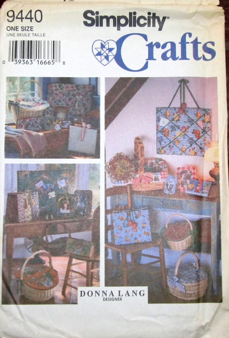 Simplicity 9440 Home Decor Vtg Donna Lang Designer Decorating Craft Sewing Pattern Bulletin Board Basket Lids Files Photo Frames Uncut FF
