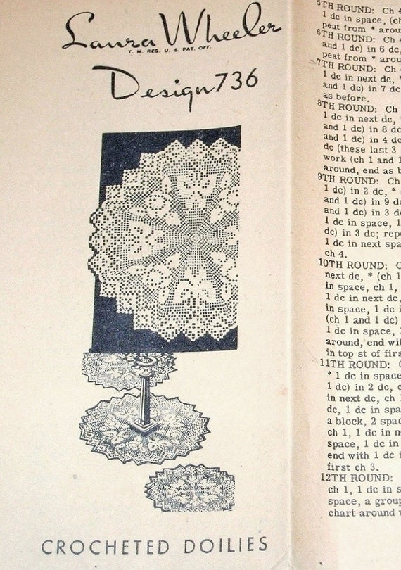 Vtg 1940s Laura Wheeler Mail Order Crochet Craft Pattern 736 | Etsy