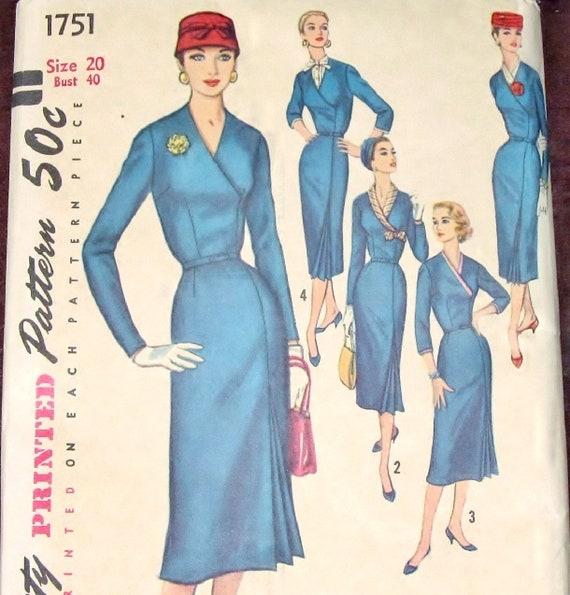 b3ddfcdb45b Vtg 1950s Simplicity 1751 Sewing Pattern Wrap Dress w
