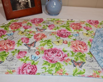 French Floral Table Runner . Snowflake Table Runner .Reversible  Quilted Table Runner . Roses and Butterfly Quilted Centerpiece .