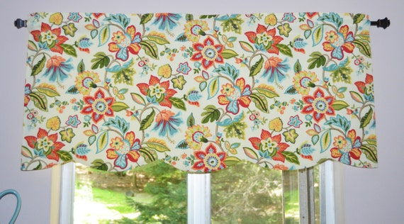 Scalloped Floral Kitchen Valance . Waverly Wonderama Toucan . Scalloped  Valance . FULLY Lined. Colorful Flowers on Cream . Waverly Curtain