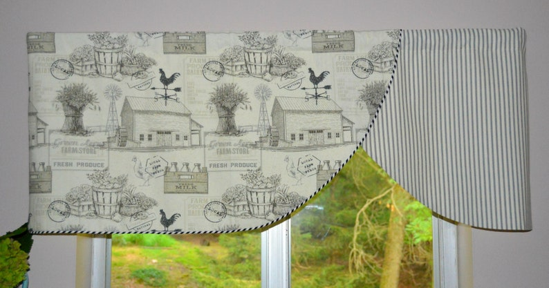 Scalloped Farmhouse Stripe Ticking Curtain Valance Green Acre S Country Curtains Black And White Farm Rooster