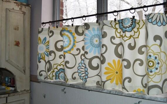 Kitchen Cafe Curtains Waverly Pom Pom Play Spa Gray Floral | Etsy