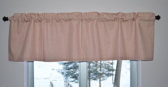 Red Stripe French Ticking Farmhouse Valance . Country Kitchen Valance .  French Ticking Red Stripe Curtains . Cabin Valance Trailer Curtain
