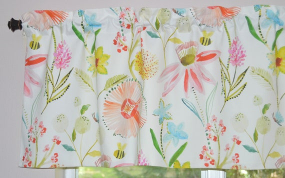 Watercolor Floral Bee and Butterfly Kitchen Valance . Organic Cotton .  FULLY Lined . Little Girl\'s Curtains . Wildflower Pink Valance