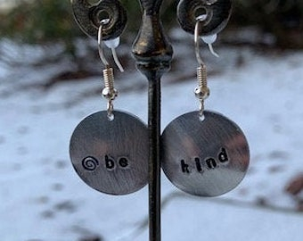 BE KIND inspirational message hand stamped earrings