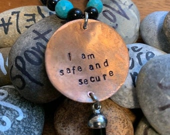 Turquoise and Black Onyx Safe and Secure Necklace